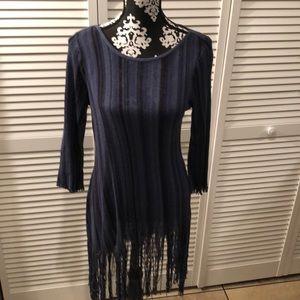 Nic + Zoe Striped Fringe Tunic Dress Medium